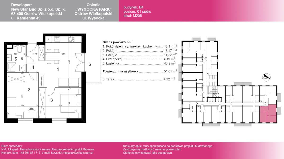 Mieszkanie trzypokojowe na sprzedaż Ostrów Wielkopolski, Wysocka  53m2 Foto 1