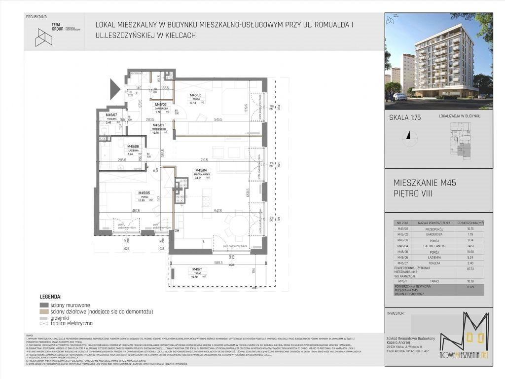 Mieszkanie trzypokojowe na sprzedaż Kielce, KSM, Romualda/Leszczyńska  90m2 Foto 4