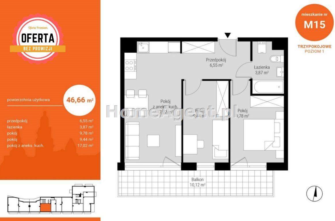 Mieszkanie trzypokojowe na sprzedaż Katowice, Wełnowiec, Bytkowska  47m2 Foto 5