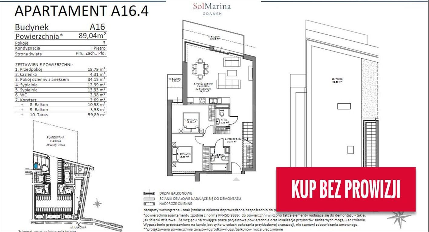 Mieszkanie trzypokojowe na sprzedaż Gdańsk, ul. Nadwiślańska  89m2 Foto 4