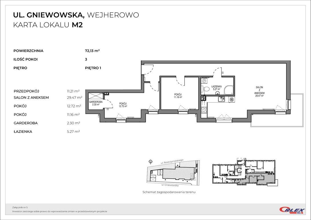 Mieszkanie trzypokojowe na sprzedaż Wejherowo, GNIEWOWSKA 30  72m2 Foto 3