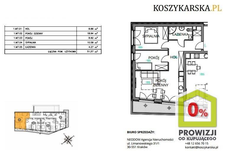 Mieszkanie trzypokojowe na sprzedaż Kraków, Podgórze, Płaszów, Koszykarska  53m2 Foto 5
