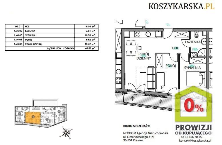 Mieszkanie trzypokojowe na sprzedaż Kraków, Podgórze, Płaszów, Koszykarska  49m2 Foto 1