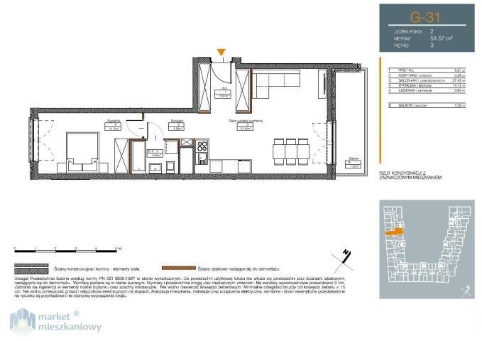 Mieszkanie dwupokojowe na sprzedaż Warszawa, Mokotów, Sadyba, Jana III Sobieskiego  55m2 Foto 2