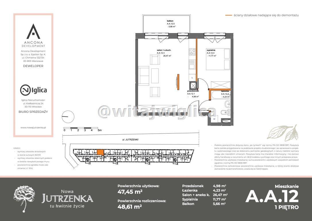 Mieszkanie dwupokojowe na sprzedaż Wrocław, Krzyki, Klecina, Jutrzenki  49m2 Foto 1
