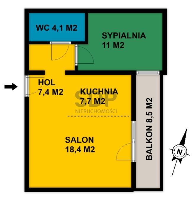 Mieszkanie dwupokojowe na sprzedaż Wrocław, Krzyki, Księże Małe, Księska  49m2 Foto 2