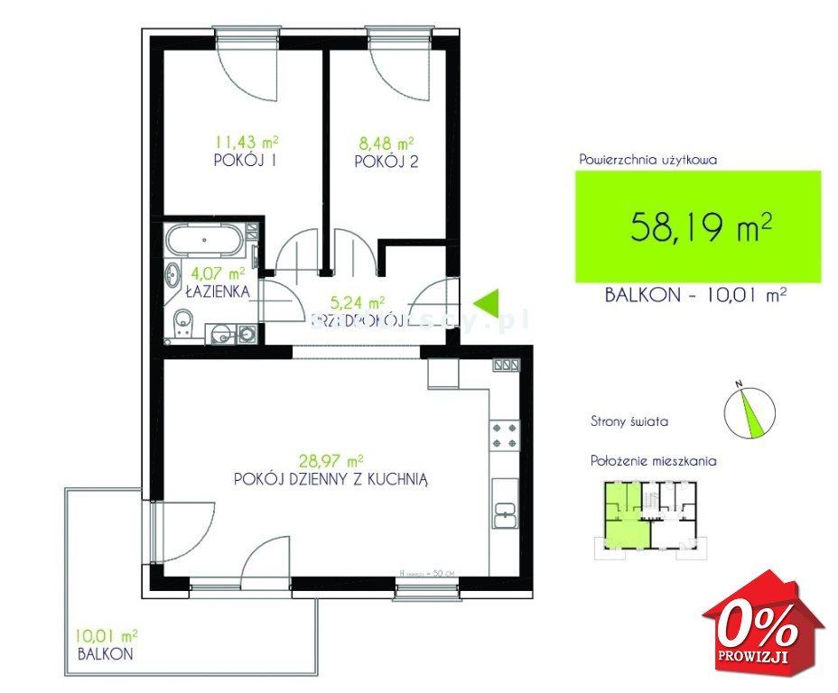 Mieszkanie dwupokojowe na sprzedaż Niepołomice, Niepołomice  59m2 Foto 3