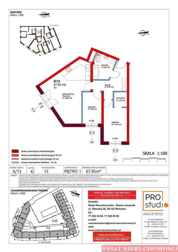 Mieszkanie trzypokojowe na sprzedaż Trzebnica  68m2 Foto 2