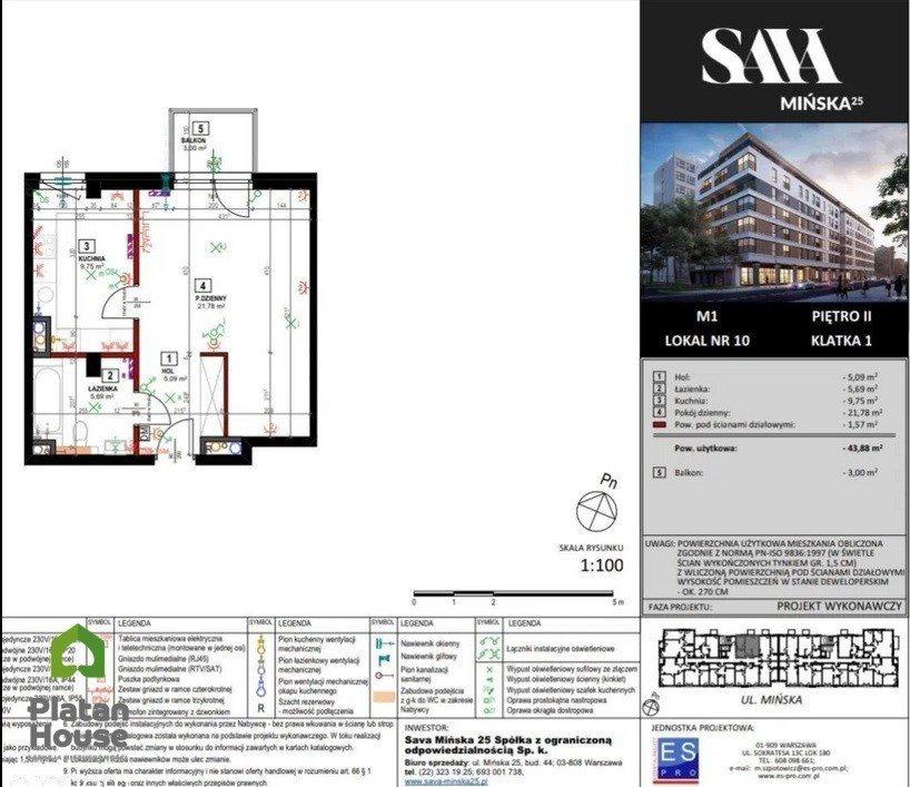 Mieszkanie dwupokojowe na sprzedaż Warszawa, Praga-Południe, Mińska  43m2 Foto 3