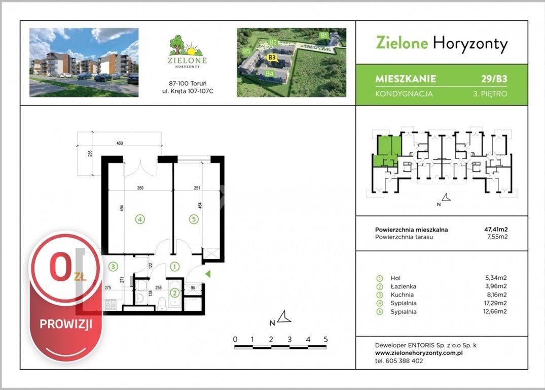 Mieszkanie dwupokojowe na sprzedaż Toruń, Kręta  47m2 Foto 2