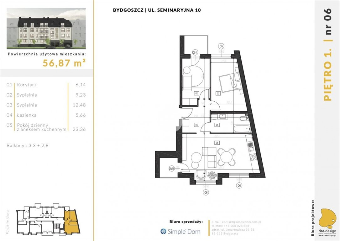 Mieszkanie trzypokojowe na sprzedaż Bydgoszcz, Błonie, Seminaryjna  57m2 Foto 5