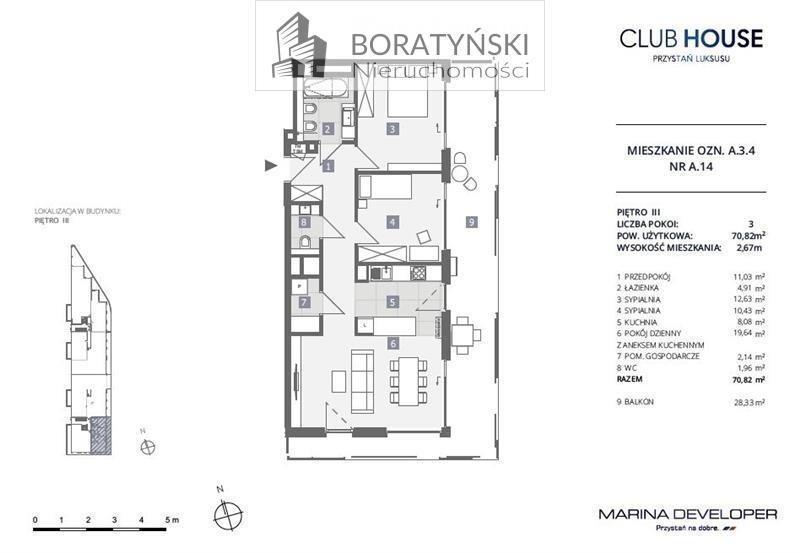 Mieszkanie trzypokojowe na sprzedaż Szczecin, Dąbie, Dąbie, Przestrzenna  71m2 Foto 4