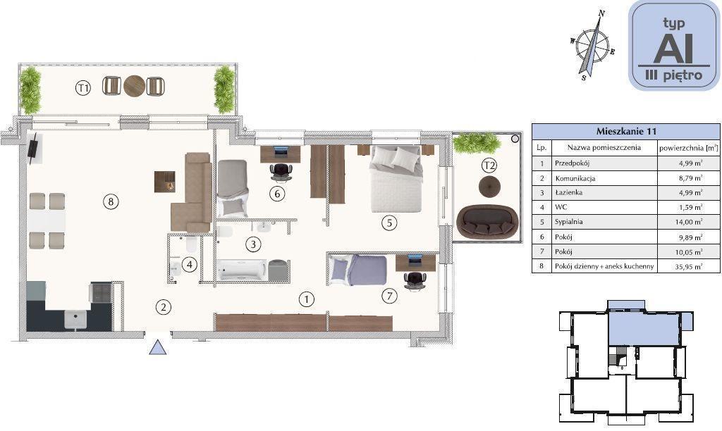 Mieszkanie czteropokojowe  na sprzedaż Grudziądz  90m2 Foto 1