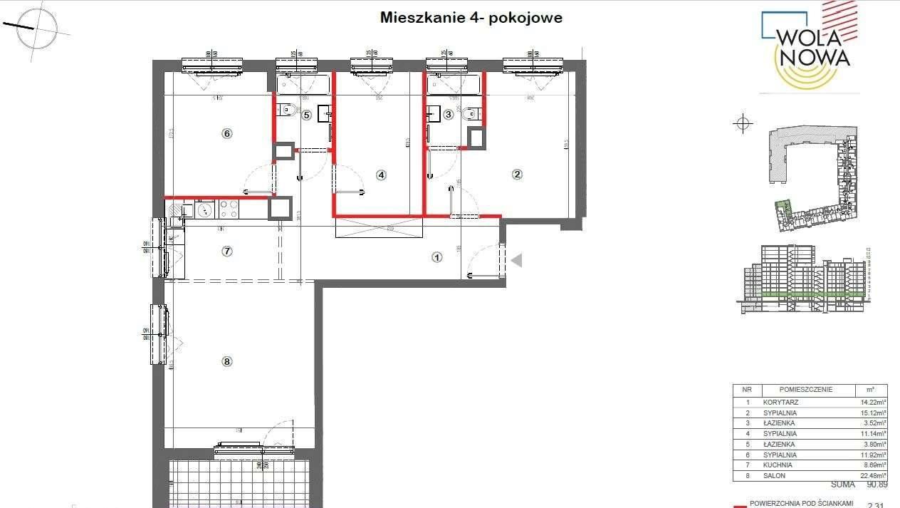 Mieszkanie czteropokojowe  na sprzedaż Warszawa, Wola, Jana Kazimierza  93m2 Foto 1