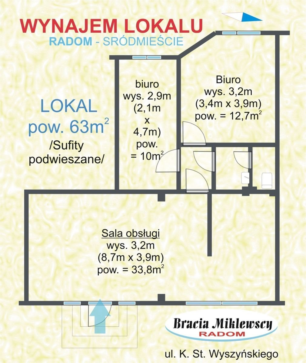 Lokal użytkowy na wynajem Radom, Centrum, Wyszyńskiego  63m2 Foto 5