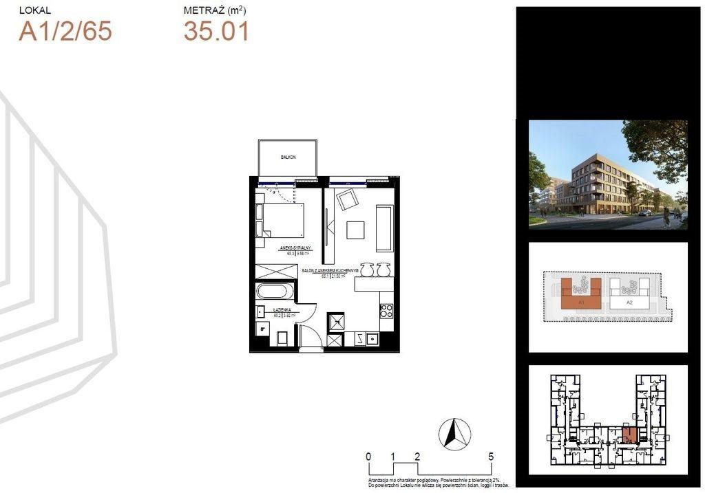 Mieszkanie dwupokojowe na sprzedaż Łódź, Widzew, Juliana Tuwima  35m2 Foto 2