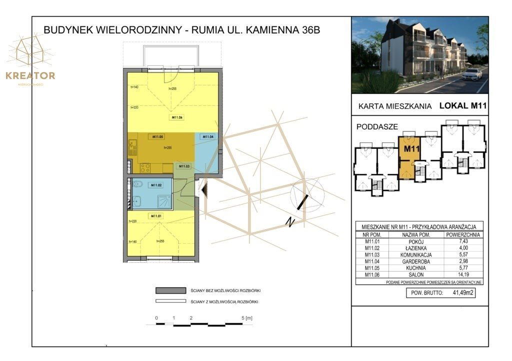 Mieszkanie dwupokojowe na sprzedaż Rumia, Kamienna  41m2 Foto 2