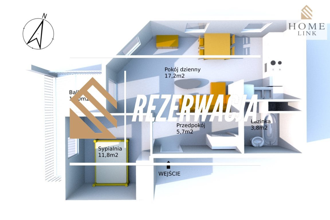 Mieszkanie dwupokojowe na sprzedaż Olsztyn, Osiedle Generałów, Grota Roweckiego  46m2 Foto 5