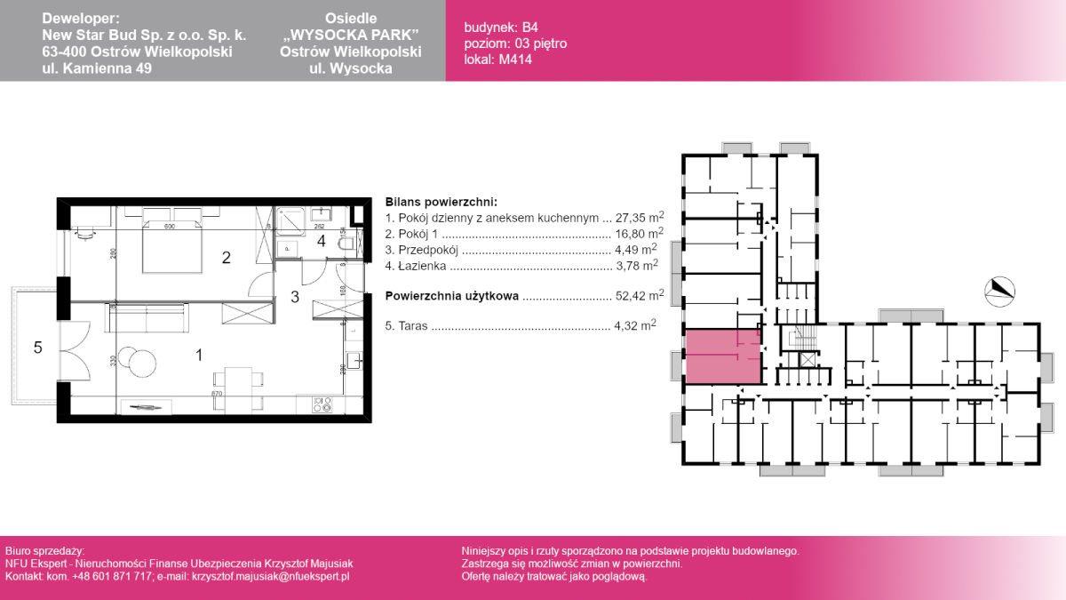 Mieszkanie dwupokojowe na sprzedaż Ostrów Wielkopolski, Wysocka  53m2 Foto 1