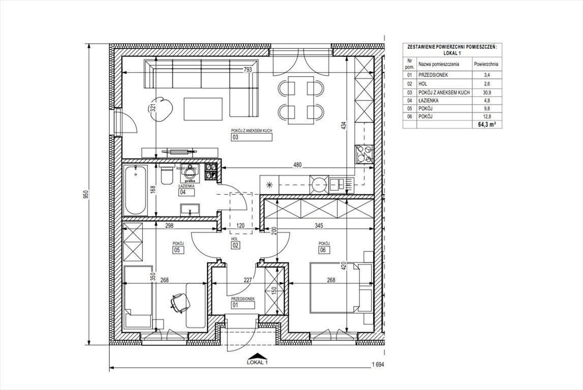 Mieszkanie trzypokojowe na sprzedaż Śrem  64m2 Foto 5