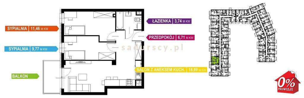 Mieszkanie trzypokojowe na sprzedaż Kraków, Prądnik Biały, Prądnik Biały, Kazimierza Wyki - okolice  51m2 Foto 3