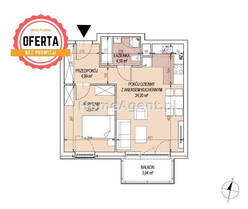 Mieszkanie dwupokojowe na sprzedaż Kraków, Podgórze, Bonarka  45m2 Foto 5
