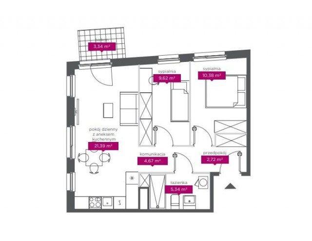 Mieszkanie trzypokojowe na sprzedaż Łódź, Widzew  54m2 Foto 4