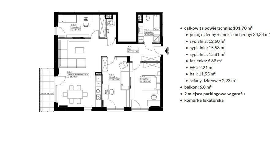 Mieszkanie czteropokojowe  na sprzedaż Warszawa, Włochy  102m2 Foto 3