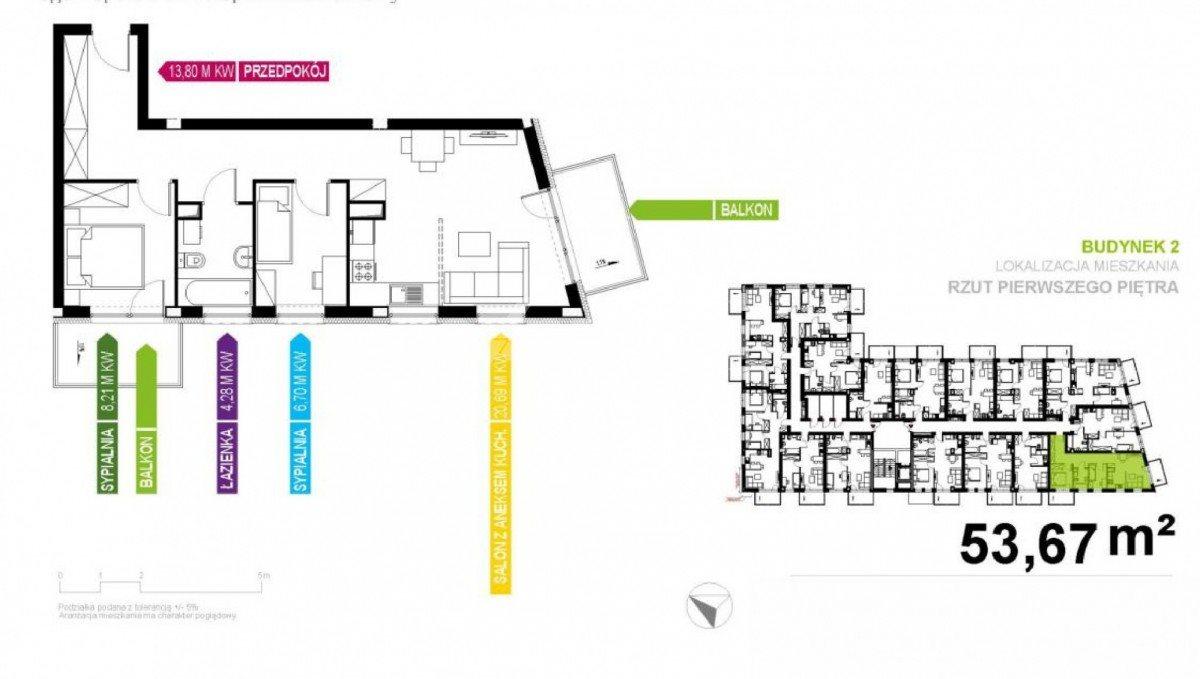 Mieszkanie trzypokojowe na sprzedaż Gliwice, Stare Gliwice  54m2 Foto 1