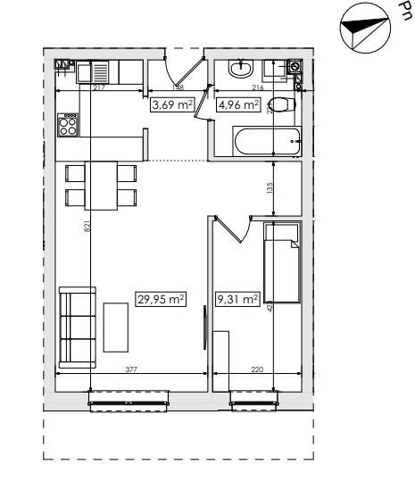Mieszkanie dwupokojowe na sprzedaż Skarbimierzyce  48m2 Foto 2