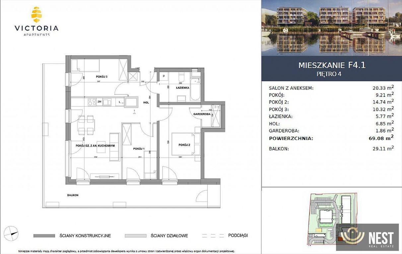 Mieszkanie czteropokojowe  na sprzedaż Szczecin, Prawobrzeże, Przestrzenna  69m2 Foto 5