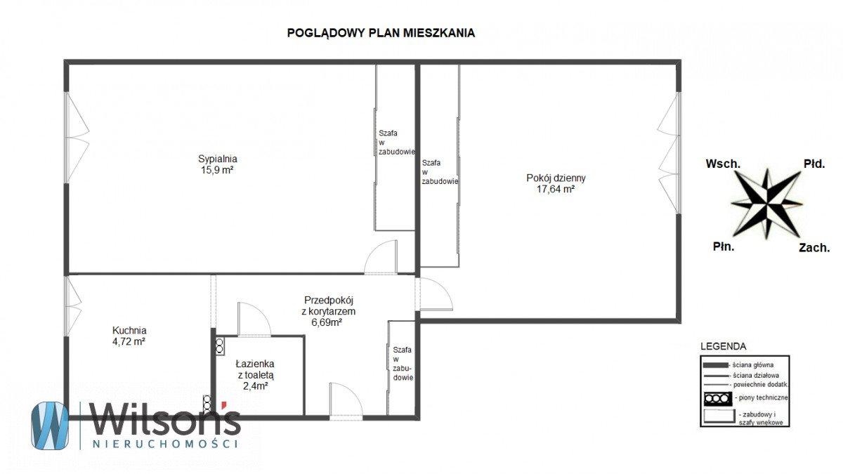 Mieszkanie dwupokojowe na sprzedaż Warszawa, Żoliborz, Dymińska  47m2 Foto 2
