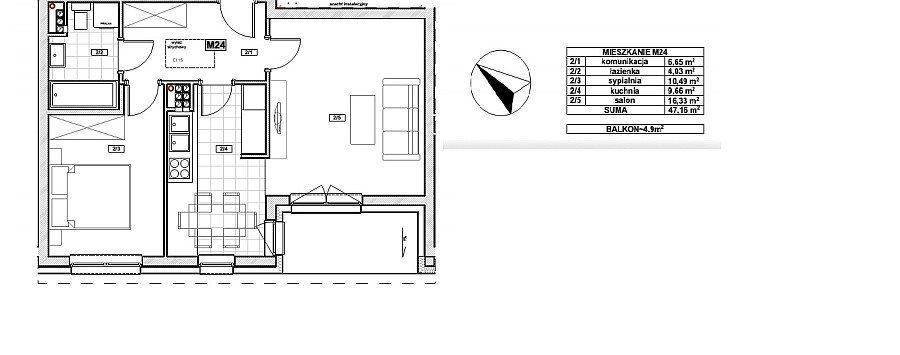 Mieszkanie dwupokojowe na sprzedaż Warzymice  47m2 Foto 1