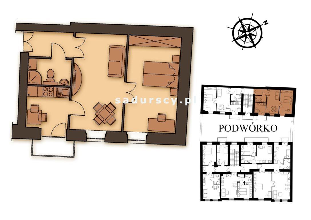 Mieszkanie dwupokojowe na sprzedaż Kraków, Podgórze, Stare Podgórze, Kalwaryjska  45m2 Foto 3