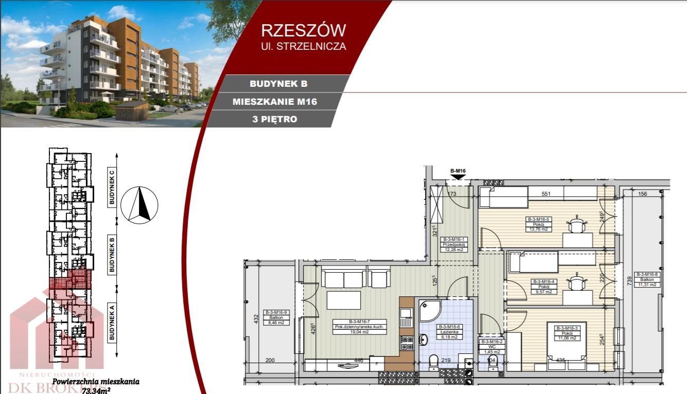 Mieszkanie czteropokojowe  na sprzedaż Rzeszów, Staroniwa, Strzelnicza  73m2 Foto 2