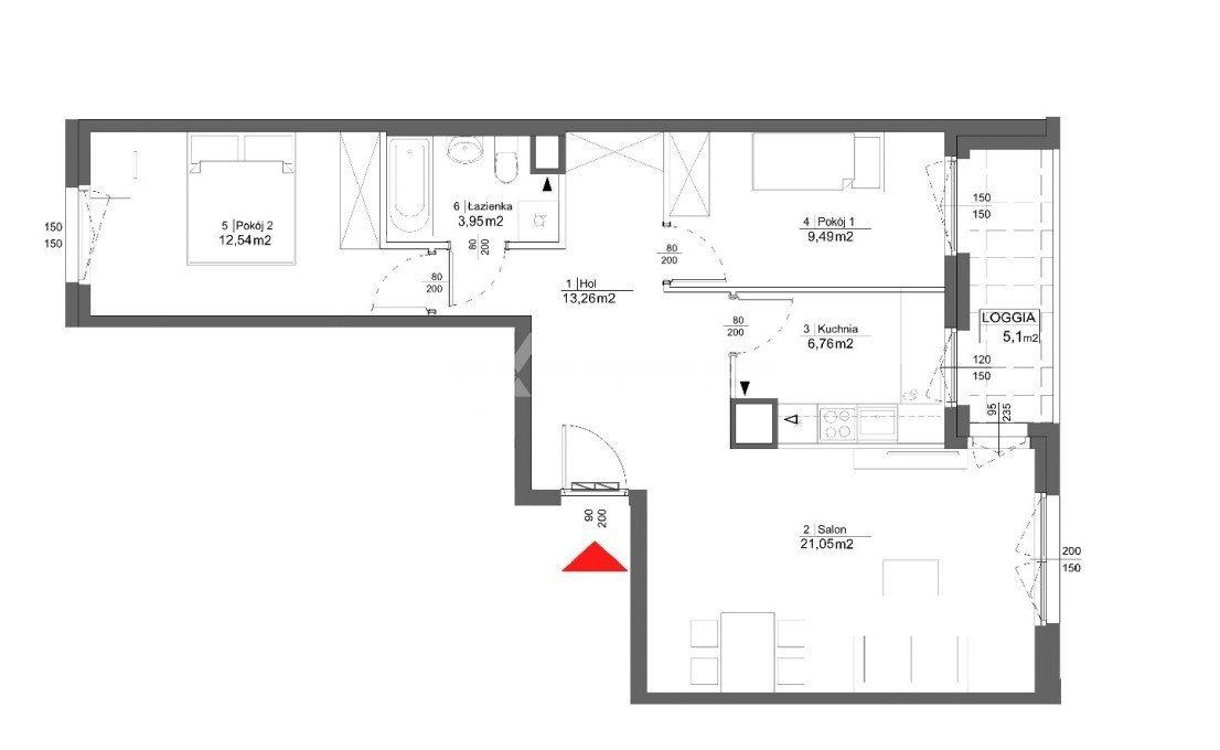 Mieszkanie trzypokojowe na sprzedaż Poznań  69m2 Foto 5