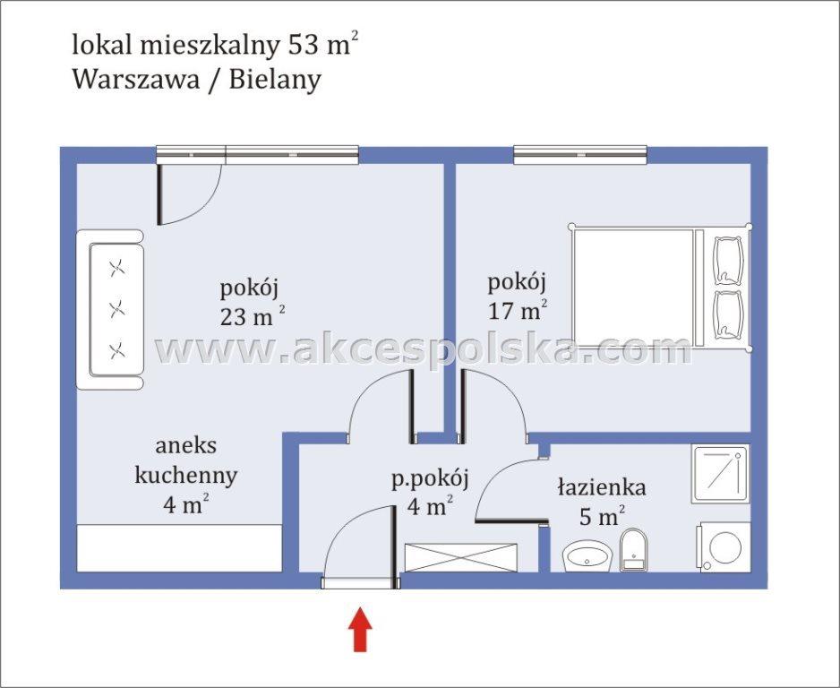 Mieszkanie dwupokojowe na wynajem Warszawa, Bielany, Wrzeciono  53m2 Foto 1
