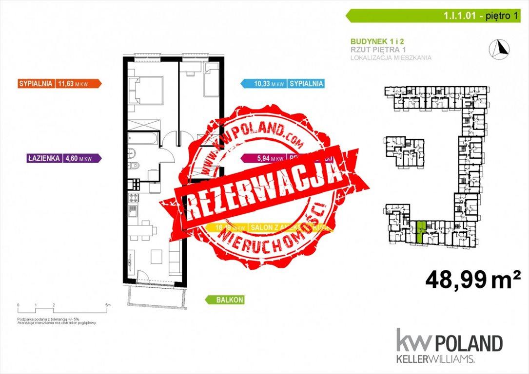 Mieszkanie trzypokojowe na sprzedaż Poznań, Naramowice  49m2 Foto 2
