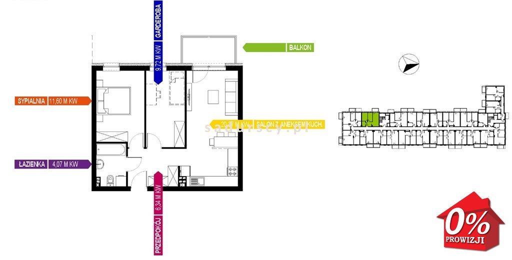 Mieszkanie dwupokojowe na sprzedaż Kraków, Bieżanów-Prokocim, Osiedle Złocień, Osiedle Złocień  52m2 Foto 6