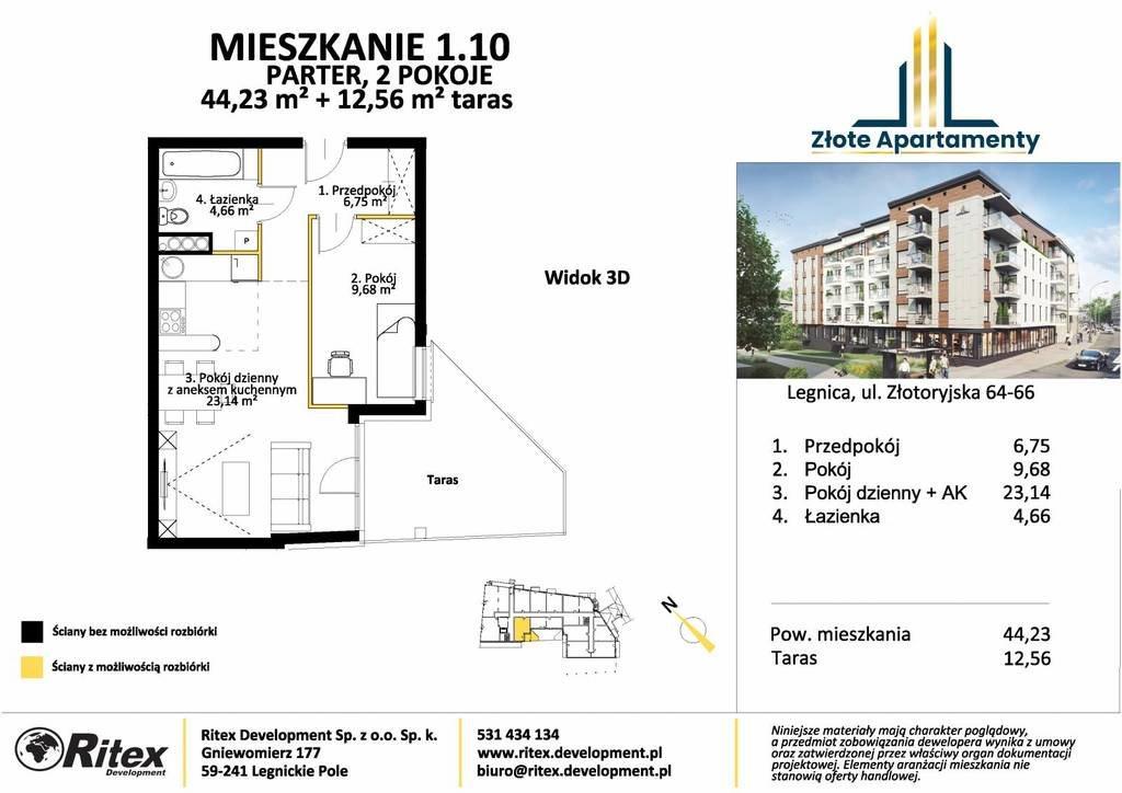 Mieszkanie dwupokojowe na sprzedaż Legnica, Tarninów, Złotoryjska  44m2 Foto 3