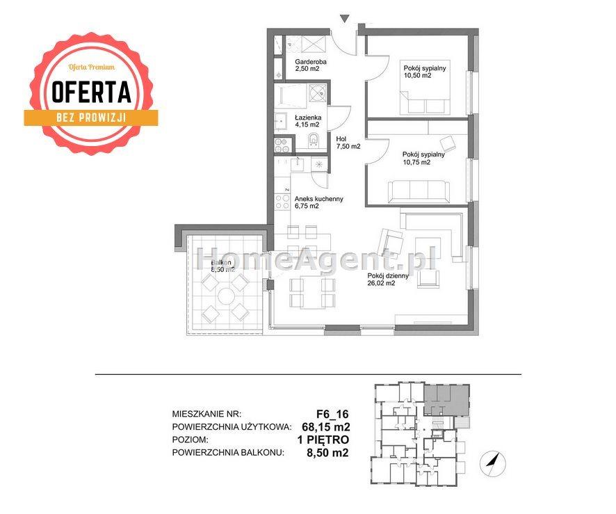 Mieszkanie trzypokojowe na sprzedaż Katowice, Kostuchna, Bażantowo  68m2 Foto 10