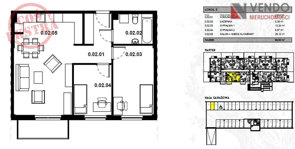 Mieszkanie trzypokojowe na sprzedaż Zalasewo, Kórnicka  64m2 Foto 1