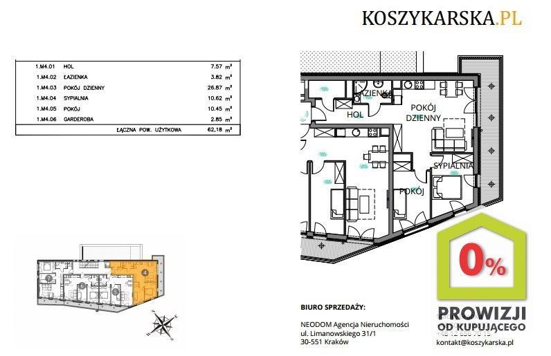 Mieszkanie trzypokojowe na sprzedaż Kraków, Podgórze, Płaszów, Koszykarska  62m2 Foto 1