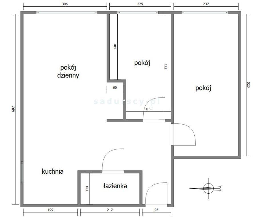 Mieszkanie trzypokojowe na sprzedaż Kraków, Grzegórzki, Dąbie, Aleja Pokoju  50m2 Foto 3