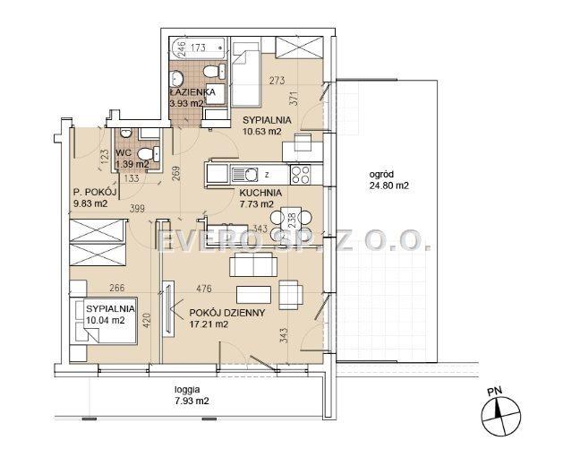 Mieszkanie trzypokojowe na sprzedaż Wrocław, Psie Pole, 3 POKOJE - ROZKŁAD - OGRÓD - NOWA INWESTYCJA - BEZ PROWIZJI  61m2 Foto 6