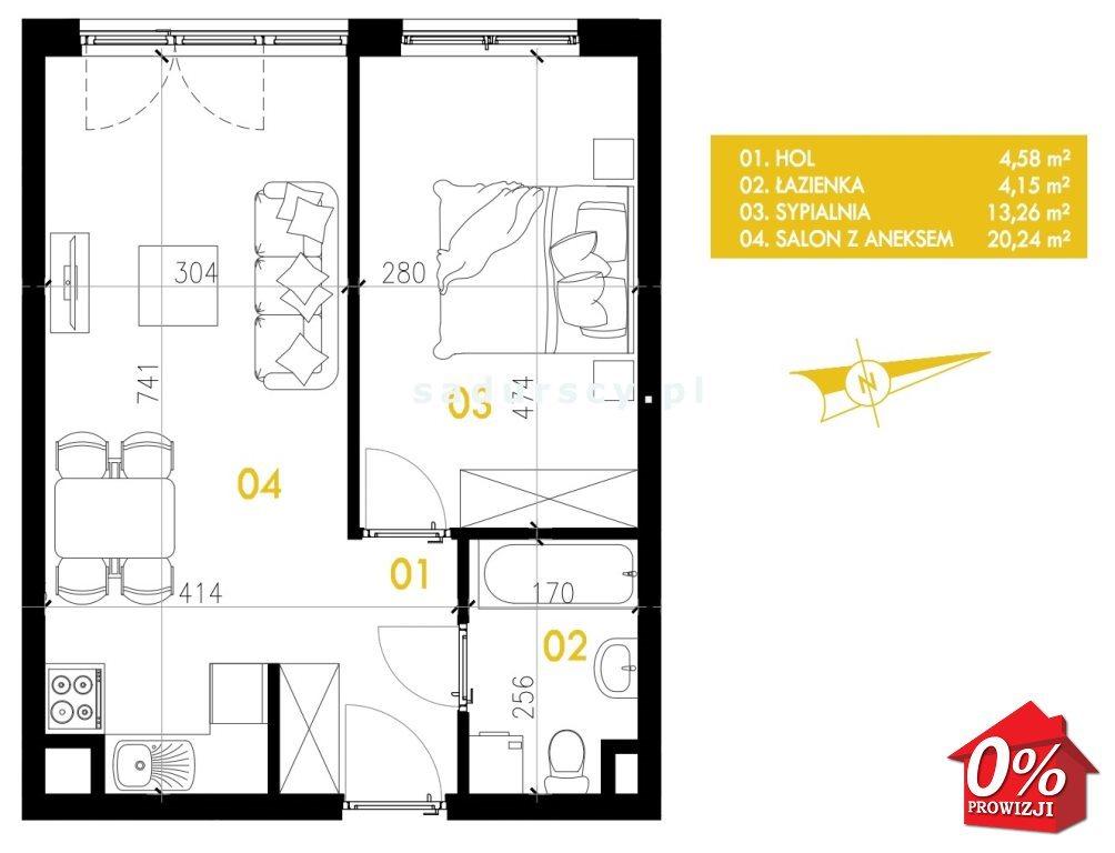 Mieszkanie dwupokojowe na sprzedaż Kraków, Podgórze, Płaszów, Przewóz - okolice  42m2 Foto 3