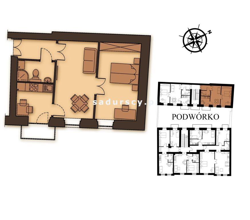 Mieszkanie trzypokojowe na sprzedaż Kraków, Podgórze, Stare Podgórze, Kalwaryjska  46m2 Foto 3