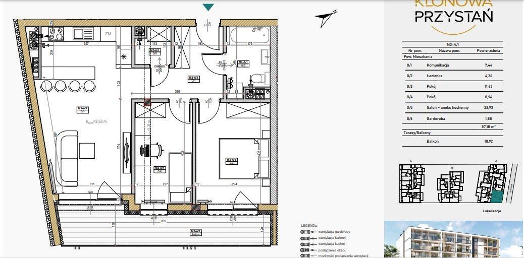 Mieszkanie trzypokojowe na sprzedaż Kielce, Uroczysko, Klonowa  57m2 Foto 5