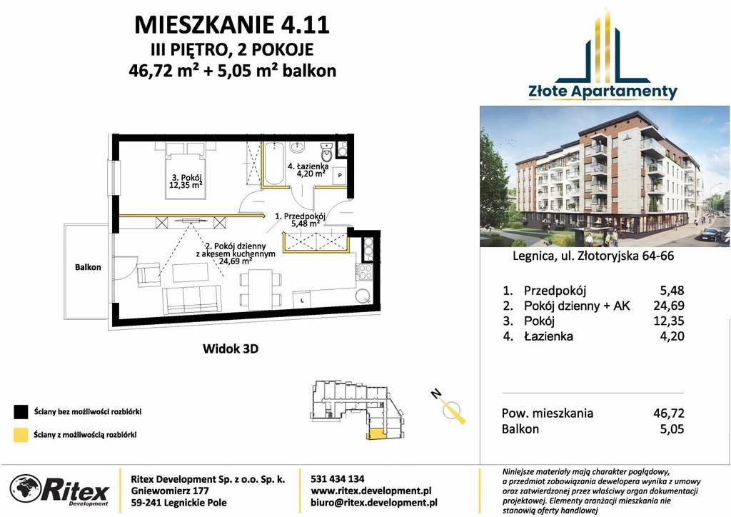 Mieszkanie dwupokojowe na sprzedaż Legnica, Tarninów, Złotoryjska  47m2 Foto 4