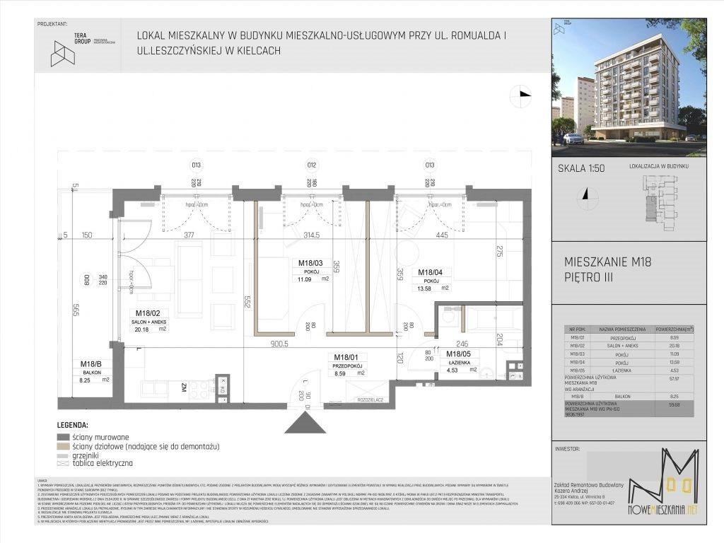 Mieszkanie trzypokojowe na sprzedaż Kielce, KSM, Romualda/Leszczyńska  60m2 Foto 4